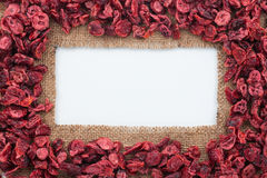 Frame made of burlap with dried cranberry Stock Images