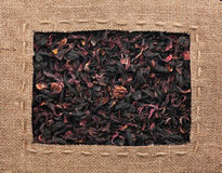 Frame made of burlap with the line lies on hibiscus Royalty Free Stock Image