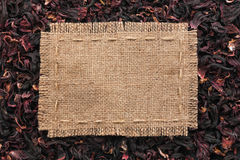 Frame made of burlap with the line lies on  hibiscus Stock Image