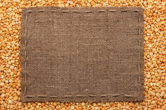 Frame made of burlap with the line lies on  peas seeds Stock Images