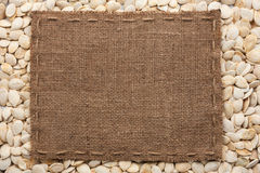Frame made of burlap with the line lies on  pumpkin seeds Stock Photography