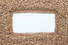 Frame made of burlap with rye Royalty Free Stock Images
