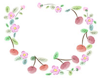 Frame made of cherries and flowers. Vector illustration of a frame made of cherries and flowers Royalty Free Stock Photos