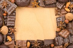 Frame made of chocolate Royalty Free Stock Images