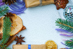 Frame made of christmas gift boxes and christmas decorations Royalty Free Stock Photography