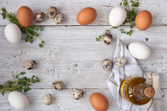 A frame made with cicken and quail eggs and thyme on the white t Stock Photography