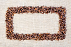 Frame made of coffee beans Royalty Free Stock Photography
