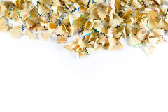 Frame made of color pencil shavings on a white paper Royalty Free Stock Photo