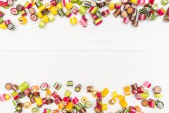 A frame made of colored caramel candies Royalty Free Stock Photography