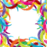 Frame made of colored feathers vector illustration