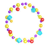 Frame made from colorful spheres and cubes Royalty Free Stock Images
