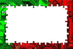 Frame made of computer puzzle Stock Photo
