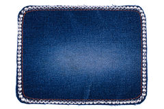 Frame is made from denim with white rhinestones, isolated Royalty Free Stock Photography