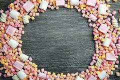 Frame made of different candies stock image