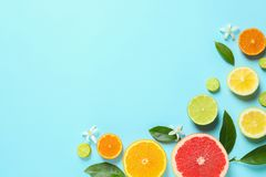 Frame made of different citrus fruits and leaves on color background, flat lay. stock photography