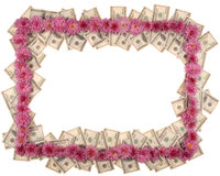 Frame made from dollar and flowers Royalty Free Stock Image