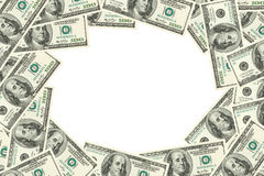 Frame made of dollars stock images