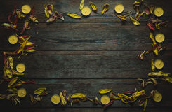 Frame made of dried flower petals and candles stock photos