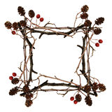 Frame made from dry twigs Royalty Free Stock Images