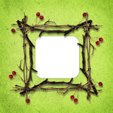 Frame made from dry twigs Royalty Free Stock Photos