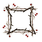 Frame made from dry twigs Royalty Free Stock Photography