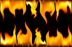 Frame made of fire flame. On a black background Royalty Free Stock Photos