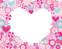 Frame made of flowers and hearts Royalty Free Stock Image