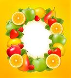 Frame made of fresh, juicy fruit. Royalty Free Stock Photography