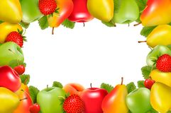 Frame made of fresh juicy fruit. Royalty Free Stock Images