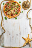 Frame made of fresh pizza Stock Photo