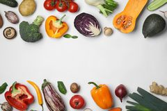 Frame made of fresh ripe vegetables on white background. Flat lay. Space for text stock images