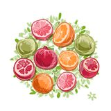 Frame made from fruits, sketch for your design Royalty Free Stock Photos