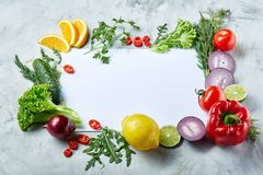 Frame made of fruits and vegetables on white background, copy space, selective focus, flat lay, close-up royalty free stock photos