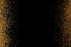 Frame made of gold glitter on black background, top view. With space for text stock illustration