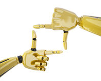Frame made by gold robotic hands Royalty Free Stock Images