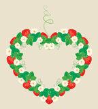 Frame is made of heart shape, ornament with Strawberries. Flowers and leaves isolated on gray background Royalty Free Stock Photos