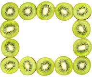 Frame made of kiwi slices isolated Stock Photo