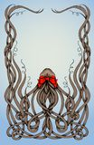 Frame made by long curly hair with big red bow. Stock Photos