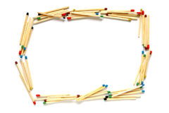 Frame made of matches. On a white background Stock Photo