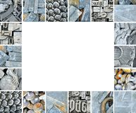Frame made from metal junk from flea market. Fragments of pictures of metal junk from flea market assembled in a frame royalty free stock photos