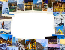 Frame made of mountains ski Austria images (my photos) Royalty Free Stock Photography