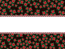 Frame made from nature elements. Frame made from blank space with red flowers and green leaves Stock Photos