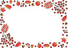 Frame made of oak leaves, rowan and maple, branches and rowan berries, acorns, pumpkin apples, pies, muffins. stock illustration
