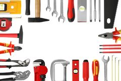Free Frame Made Of Different Construction Tools On White Background, Top View Stock Photo - 151977420