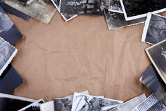 Frame made of old photos crumpled packaging paper Royalty Free Stock Photos