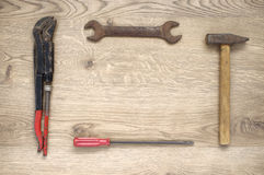 Frame made of old tools. Frame made of rusty old hand tools stock image