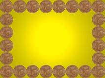 Frame made from one euro cent coins on yellow. Stock Photo