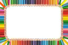 Frame made out of color pencils Royalty Free Stock Photography