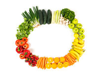 Frame made out of fruits and vegetables isolated on white royalty free stock image
