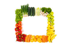 Frame made out of fruits and vegetables isolated on white stock photos